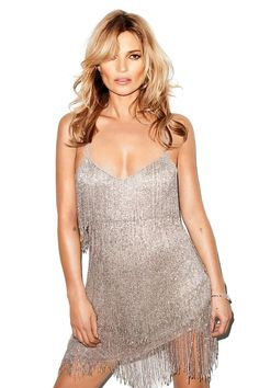 Who What Wear Kate Moss Harpers Bazaar May 2014 Photographer Terry Richardson Kate Moss For Topshop Collection Loose Waves Wavy Hair Accented Cheeks Peach Pink Lipstick Beauty Silver Metallic Fringe Sleeveless Dress
