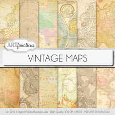 "Vintage maps digital paper, ""VINTAGE MAPS"" backgrounds,antique maps, old world… Parchment Background, Map Background, Vintage Maps, Antique Maps, Papel Scrapbook, All Paper, Travel Themes, Photography Projects, Printable Paper"