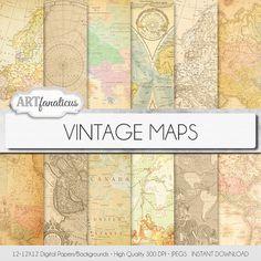 Vintage cartes papier numérique VINTAGE cartes par Artfanaticus, $4.90