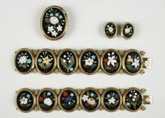 Mosaic demi-parure (brooch/pendant, earrings and bracelets), 1820-1840; gold, marble, chalcedony.  Gift of Goodhue Livingston, 1951.  NYHS Object Number Z.2300.24a-c.