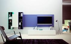 Image result for tv media furniture with tv on wall