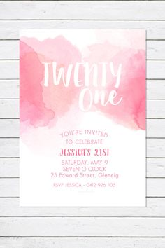Birthday invitation, 'Pretty in Pink Watercolour', twenty one invitation, twenty first invite, pink, 21