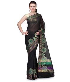 Bunkar Black Cotton Banarasi Saree With Blouse Piece