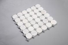 "White Carrara Carrera 2"" Octagon Gray Dot Natural Stone Mosaic Tile"
