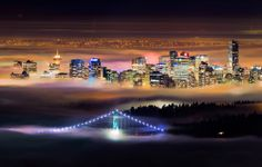 Foggy night - Vancouver and the Lions Gate Bridge