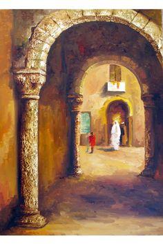 la medina (Peinture) par nejib zneidi les vieille rue de la medina centre ville…