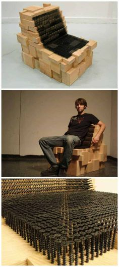 A surprisingly comfortable chair made from scraps of douglas fir and 3,726 drywall screws ! ++ Revol Design #Chair, #Design, #Screw, #Upcycled #RecycledFurniture