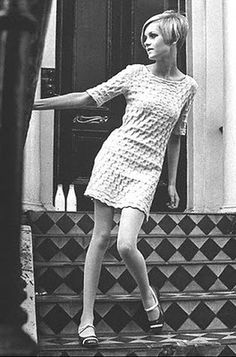 Twiggy wearing a Mary Quant dress.   Miniskirt and hot pants, they were on of other fun fashions thing that Mary Quant used to spread her idea about promoting young people to dress to please themselves and to treat fashion as a game.