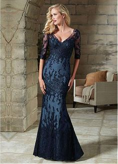 Fabulous Tulle V-neck Sheath Mother of The Bride Dress with Beaded Lace Appliques
