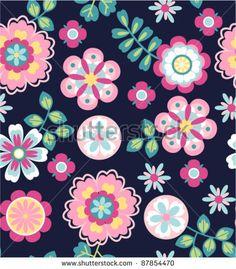 seamless cute retro flower pattern background by SalomeNJ, via ShutterStock
