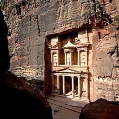 Petra, Jordan. i've always been fascinated with the unbelievably gorgeous structures carved from mountain-sides.