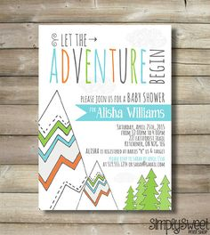 Items similar to Adventure Baby Shower Invite Invitation Boy Mountain Trees Tribal Camping Blue Navy Green Orange Nature Hike Cloud Let The Adventure Begin on Etsy Baby Shower Invitation Templates, Printable Invitations, Invites, Invitation Cards, Baby Shower Themes, Baby Boy Shower, Shower Ideas, Baby Theme, And So The Adventure Begins