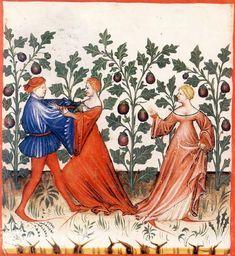 Eggplants and their aphrodisiacal effects, Tacuinum Sanitatis, SN2644, folio 31v; 1385–1390.
