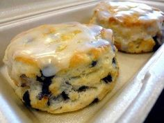 Bo Berry Biscuit Recipe: Biscuits: 2 Cups Flour 1 Cup milk 1/3 Cup sugar 5 T of butter 4 tsp baking powder 1 tsp salt 3 oz of blueberries (fresh or dried) Glaze: 1 Cup of powdered sugar 1/8 Cup of water 1 tsp of vanilla ½ tsp of lemon juice