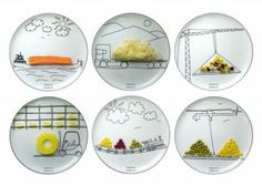 These Transportation Plates by Boguslaw Sliwinski defy your grandmother and actually encourage you to play with your food. Each plate is printed with images of trains, cranes, chips, helicopters and forklifts, enabling you to use your food to complete the
