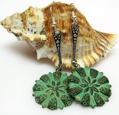 Green Patina Floral Medallion Earrings  by AVeryCoolEarringShop