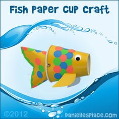 Fish Paper Cup Puppet Craft from www.daniellesplace.com - Copyright 2012