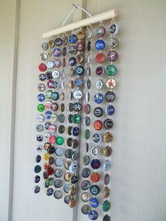 Beer Bottle cap wind chime - omg I'm making on for dad!