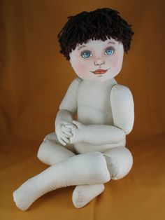 """Image detail for -... 14"""" whimsical """"shelf-sitter"""" muslin cloth doll with rag hair"""