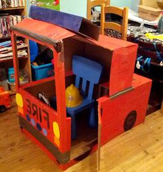 Making a card board fire engine. from Taming the Goblin: Kids Co-op Link up… Transportation Activities, Eyfs Activities, Activities For 2 Year Olds, Transportation Party, Toddler Activities, Cardboard Paper, Cardboard Crafts, Cardboard Boxes, Diy For Kids