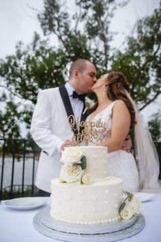 Kylie and Ryan's Disney wedding cake was yellow cake with Churro Crunch Mousse in one tier and and chocolate cake with Cookies 'n' Cream mousse in the other!