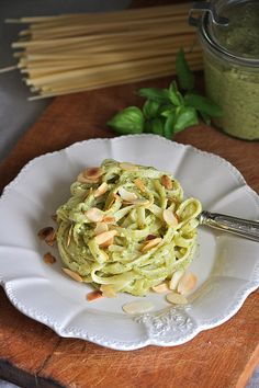 The rabbit hole: Trenette pesto zucchini and almonds