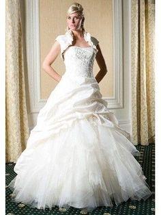 luxuriöse Brautkleider mit Korsage aus Organza und kleiner Jacke Ballkleider