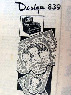 Laura Wheeler  Design 839, Filet Crochet Kittens Chair Set, Vintage Mail Order Crochet Pattern, Antimacassar Set by OnceUponAnHeirloom on Etsy