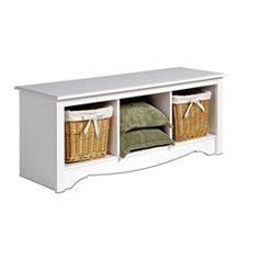 Winslow White Cubbie Storage Bench By Prepac