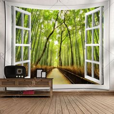 Window Bamboo Forest Path Wall Tapestry - Green W59 Inch * L51 Inch Mobile