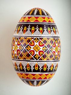 Pysanka Goose Egg Ornament - Design 14