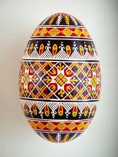 Pysanka Goose Egg Ornament - Design 14