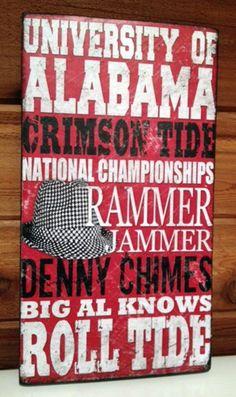"Roll Tide Roll! $25_University of Alabama Football Wood Sign  7.75"" x14'' x.1'' Poplar Wood Sign"