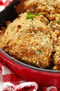 Baked Parmesan Ranch Chicken Thighs Recipe - skinless chicken thighs dipped in ranch dressing, coated in bread crumbs and parmesean cheese, and baked until crispy on the outside and juicy inside. Only 5 ingredients!
