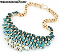 This gorgeous graduated teal and blue necklace is a must have! Featuring forest green and teal lace intertwined between gold links this necklace is unique as it is elegant. Get this necklace Bold Necklace, Necklace Price, Short Necklace, Fashion Necklace, Fashion Rings, Beaded Necklace, Fashion Jewelry, Uk Fashion, Chunky Gold Necklaces