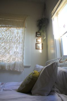 sunlit room and small frames.