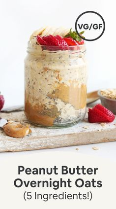 Simple peanut butter overnight oats made with just 5 ingredients and 5 minutes prep time. Naturally sweetened, vegan, gluten-free, and so delicious. Baker Recipes, Cereal Recipes, Whole Food Recipes, Vegan Recipes, Peanut Recipes, Oatmeal Recipes, Sweet Recipes, Peanut Butter Overnight Oats, Overnight Oatmeal