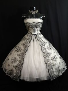 Reserved Vintage 1950's 50s Bombshell STRAPLESS Black White Metallic Floral Flocked Tulle Party Prom Wedding DRESS. $599,99, via Etsy.