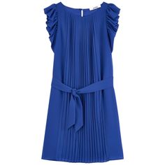 Polyester voile Synthetic lining Light item Flowing cut Crew neck Flounces on the armholes Flared hem Flat pleats on the front Belt to tie Detachable belt Buttons in the back - 109,00 €