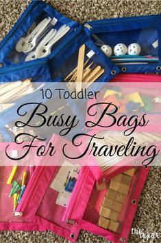 10 Toddler Busy Bags For Traveling Keeping a toddler entertained while traveling and/or during a trip can be hard work. But these toddler busy bags will make it easier for you and fun for them! Toddler Busy Bags, Toddler Travel, Toddler Fun, Kids Bags, Toddler Crafts, Toddler Toys, Travel With Kids, Baby Toys, Baby Baby
