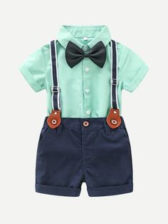 Baby / Toddler Boy Gentleman Bow Tie Shirt and Solid Suspenders Shorts Set Baby / Toddler Boy Gentlemanly Bow Tie Shirt and Solid Suspender Shorts Set - Unique Baby Outfits Cool Baby Clothes, Newborn Boy Clothes, Baby Outfits Newborn, Cute Baby Boy Outfits, Summer Clothes, Newborn Clothing, Boys Summer Outfits, Summer Boy, Outfits Niños