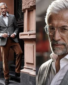 Senior Men's Fashion, Best Haircuts For Older Men, Business Casual Men, Men Casual, Silver Foxes Men, Grey Hair Men, Over 60 Fashion, Grey Beards, Hair And Beard Styles