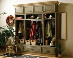 Great idea to make my mudroom functional!  Ideas & Inspiration for Kitchen Cabinets, Bathroom, Laundry Rooms, Interior Door, Walkin Closets - Bertch Cabinets