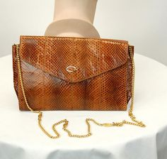 1980s snakeskin bag purse chain shoulder strap Raffael Made in Spain  caramel brown envelope clutch f478fd7b12d25