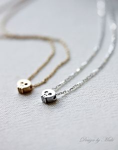 Mini Gold or Silver Skull Necklace- Gold filled/Sterling silver chain,Simple,Everyday Jewelry, Sweet 16 Gift. $23.50, via Etsy.