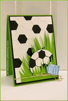Stampin' Up! … handmade card from www.de: Cards for Dad … hexagon… Stampin' Up! … handmade card from www.de: Cards for Dad … hexagons … soccer ball in grass … luv the use of die cut hexagons … fab card! Boy Cards, Kids Cards, Cute Cards, Hexagon Cards, Birthday Cards For Boys, Birthday Kids, Soccer Birthday, Birthday Design, Birthday Crafts