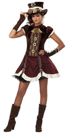 Steampunk Girl Halloween Costume Available on TrendyHalloween.com  #SteamPunk #Bioshock #Vintage #Art