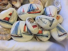 20x Paperweight-Pebble Art - Painted Pebble- Painted Stone with Decoupage by BlondexBoutique on Etsy