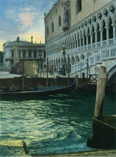 'Atardecer en Venecia' de Cajal, pintura figurativo hiperrealista.