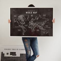 World Map School Room Art Print Download | With a slightly textured-looking background and farmhouse-style appeal, these can go from kitchen to kids room to learning space with ease.